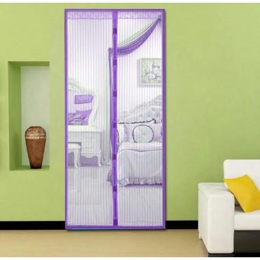 Дверная антимоскитная сетка штора Magnetic Mesh 210х100см  от насекомых комаров на магнитах Фиолетовая