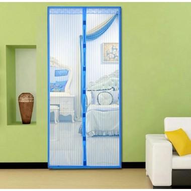 Дверная антимоскитная сетка штора Magnetic Mesh 210х100см  от насекомых комаров на магнитах Голубая