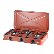Настольная газовая плита таганок с крышкой VILGRAND VGP-303 конфорки 3 газовый баллон пропан бутан коричневая