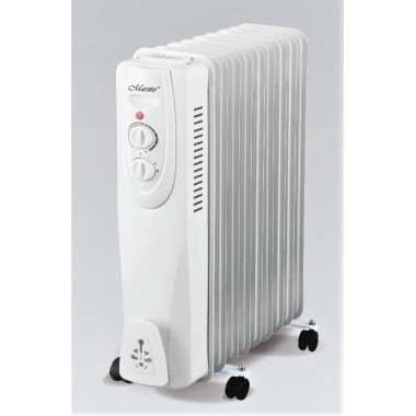 Масляный радиатор обогреватель 9 секций Maestro MR-950-09 2 кВт 3 режима 15 м2 терморегулятор защита от перегрева батарея напольный белый