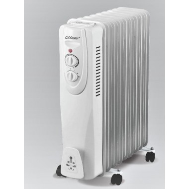 Масляный радиатор обогреватель 11 секций Maestro MR-950-11 2,5 кВт 3 режима 15-20 м2 терморегулятор защита от перегрева батарея напольный белый