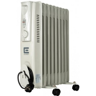 Масляный радиатор обогреватель 9 секций ELEMENT OR 0920-9 2 кВт  3 режима 14м2 защита от перегрева терморегулятор батарея напольный серый/белый