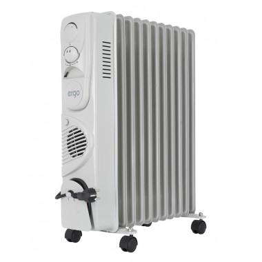Масляный обогреватель радиатор 11 секций ERGO HO 202511F 2900Вт 3 уровня тепловентилятор 3 режима 25м напольный мобильный предохранитель