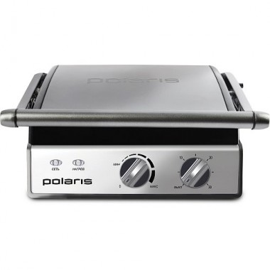 Электрогриль прижимной Polaris PGP-0903 2000Вт регулировка температуры антипригарное 180 градусов пресс барбекю